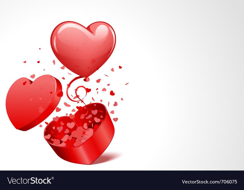 Heart present box vector image