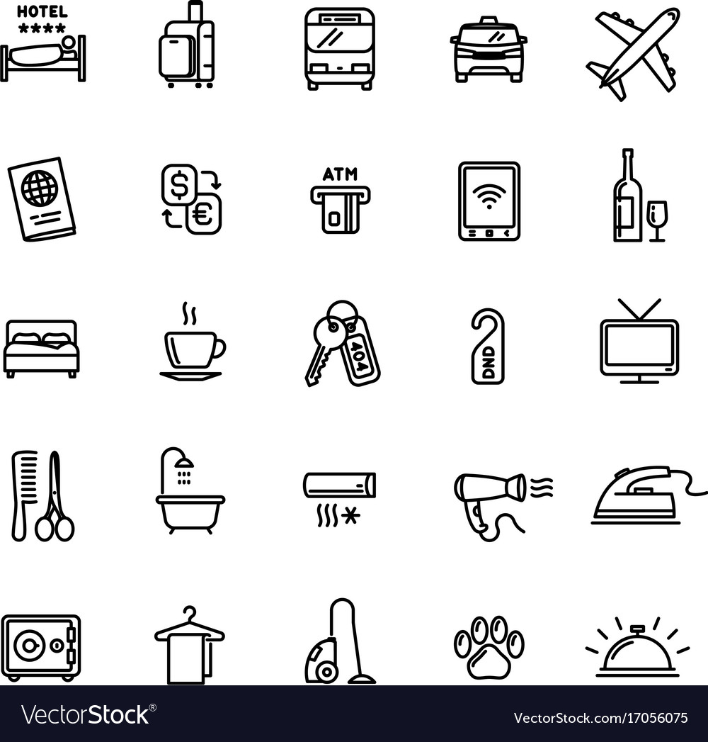 Hotel services related set 25 light outline icons