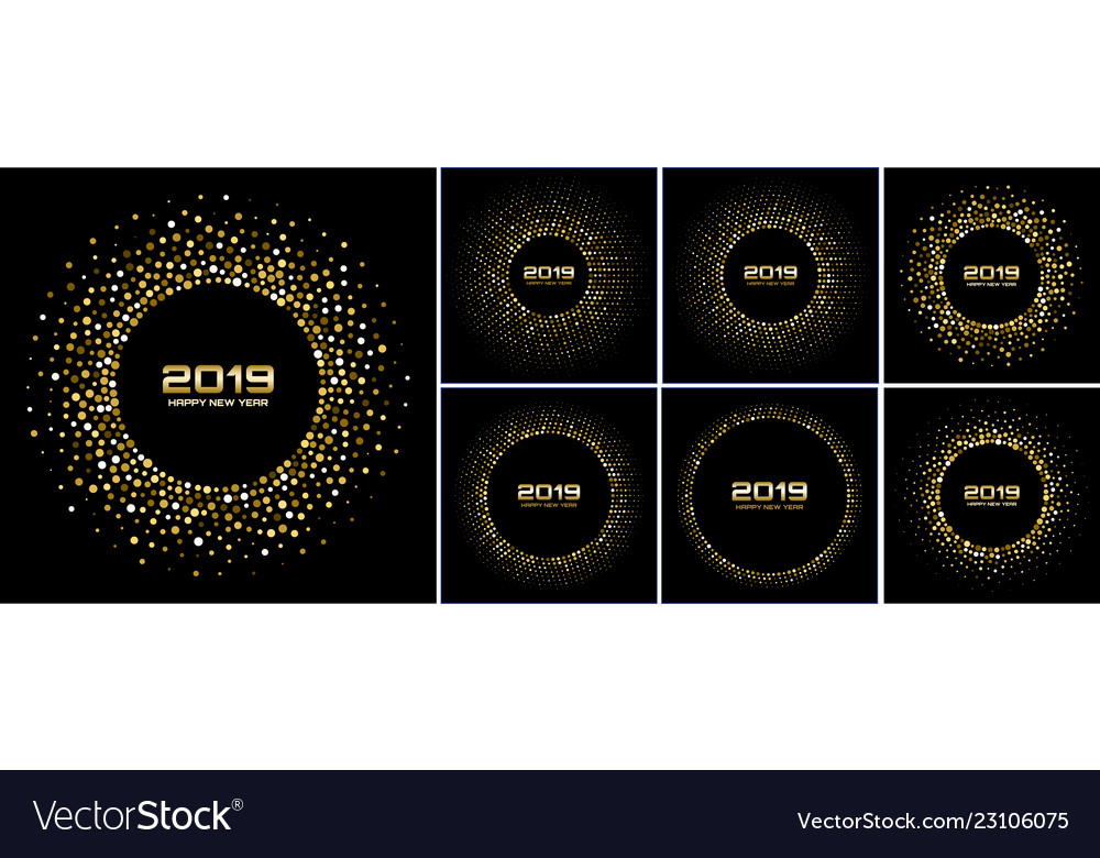 New year 2019 card gold backgrounds set