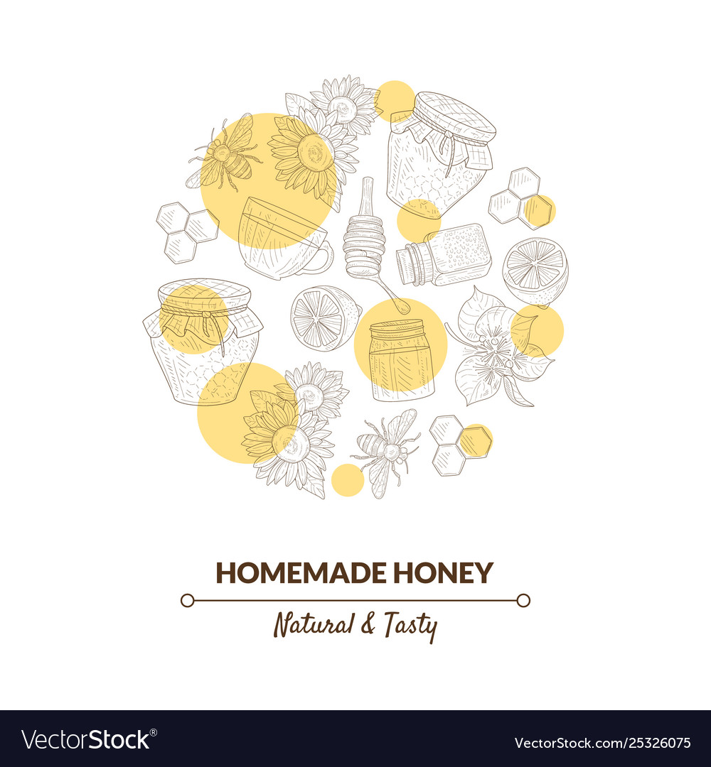 Organic honey banner template with hand