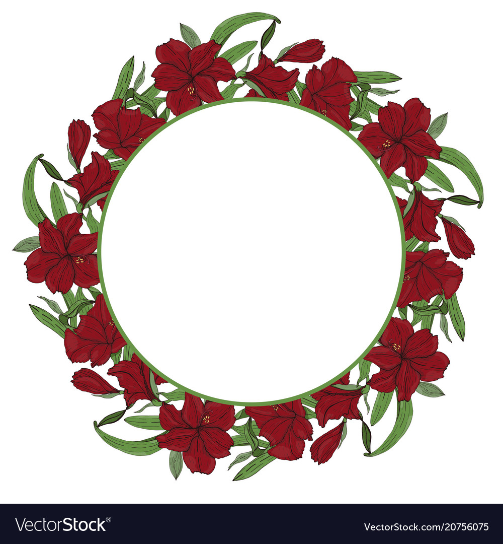 Round floral border frame Royalty Free Vector Image