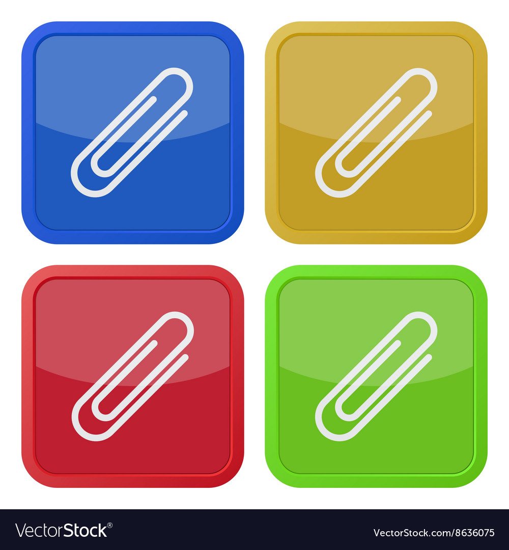 Set of four square icons with paper clip