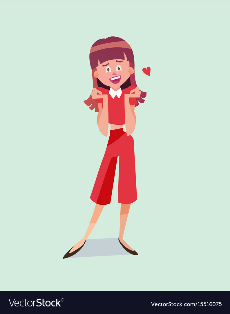 Single cartoon girl vector image