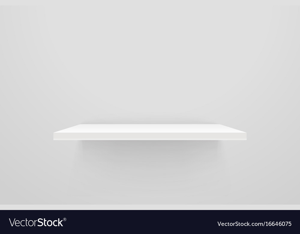 White Empty Shelf On Wall Mockup Vector Image
