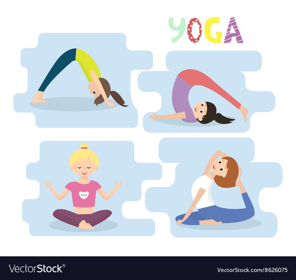 women yoga exercises yoga poses set royalty free vector