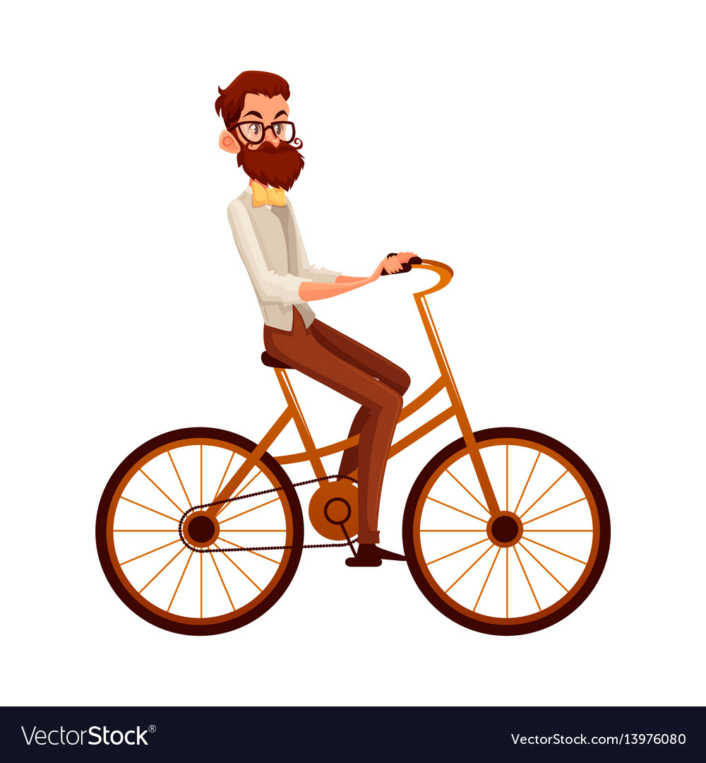 c04a83ff2db8 Bearded man in vest and bow tie riding bicycle Vector Image