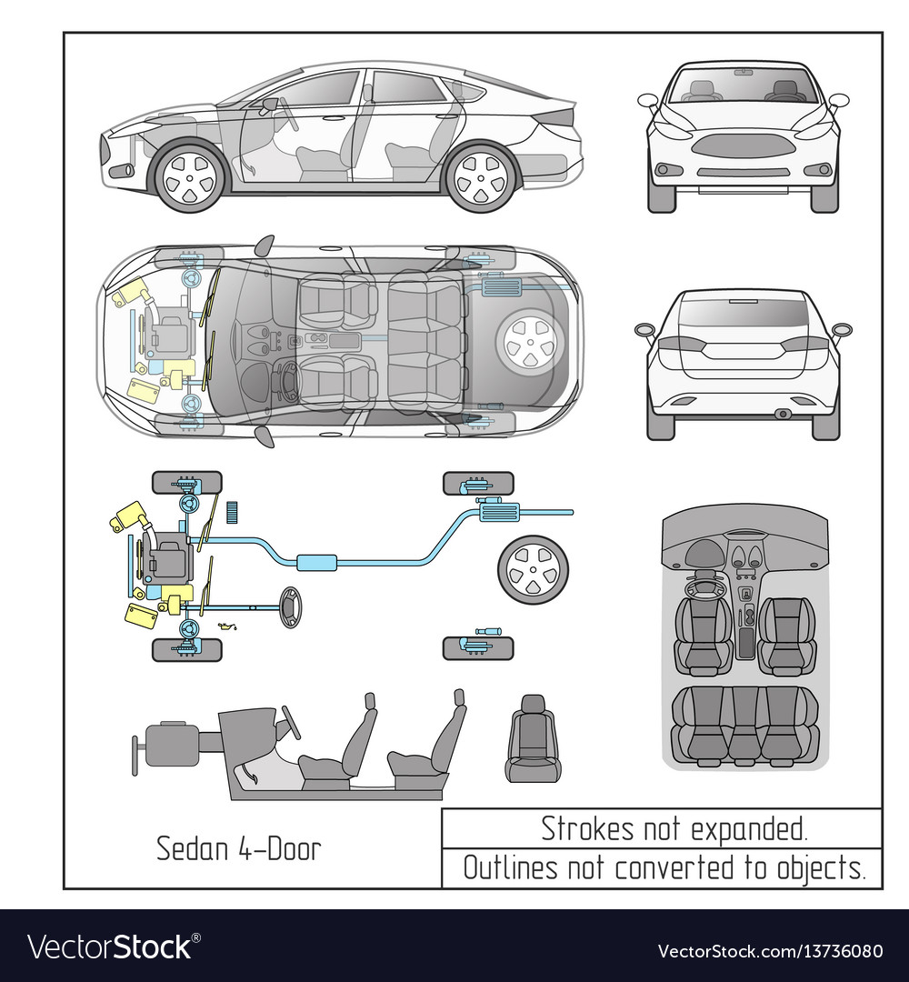 Car sedan interior parts engine seats dashboard Vector Image