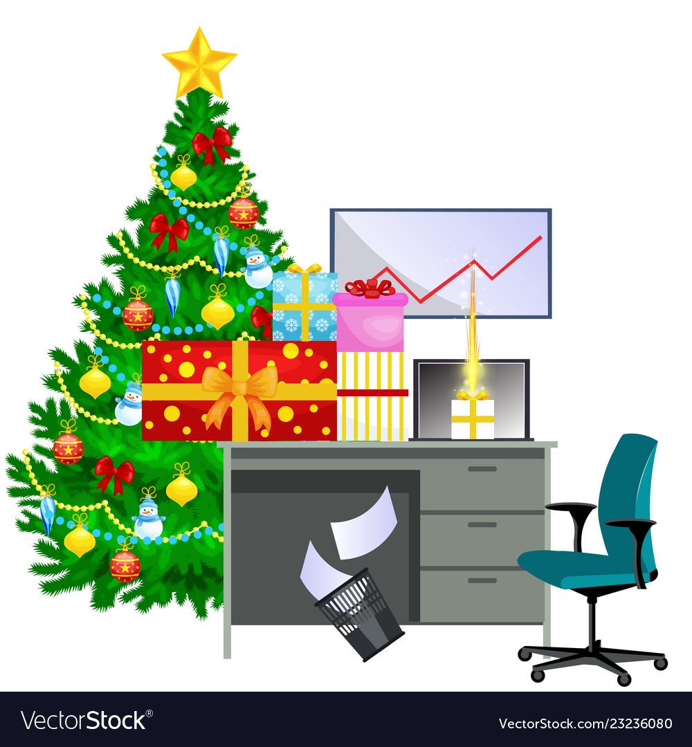 Cartoon image of office desk and christmas tree