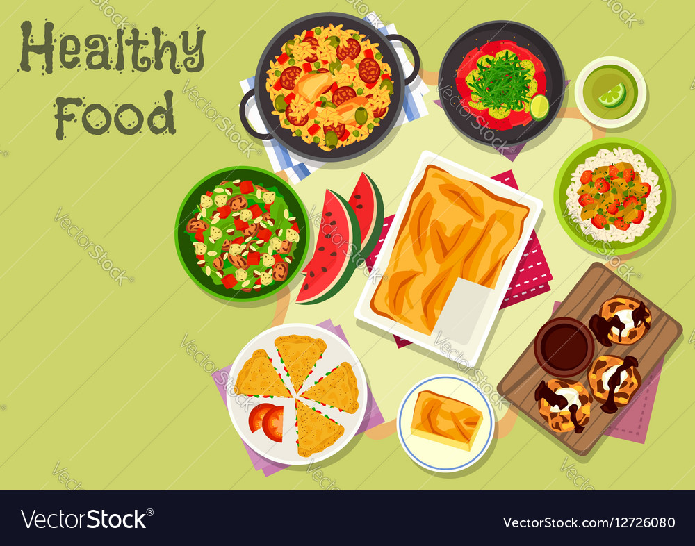 Delicious lunch icon for healthy food design