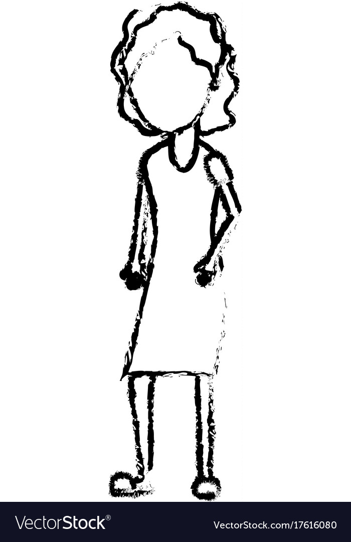 Figure woman with hairstyle and dress design
