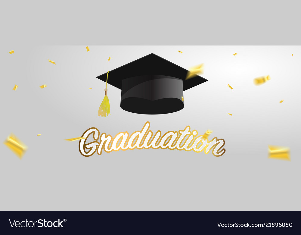 Graduate Caps And Gold Confetti Royalty Free Vector Image