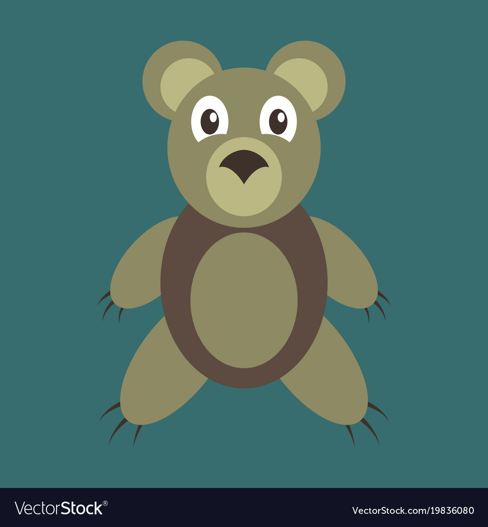 Icon in flat design toy bear