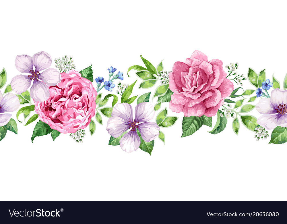 Seamless floral background in watercolor style