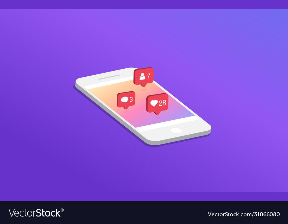Social media notification on smartphone