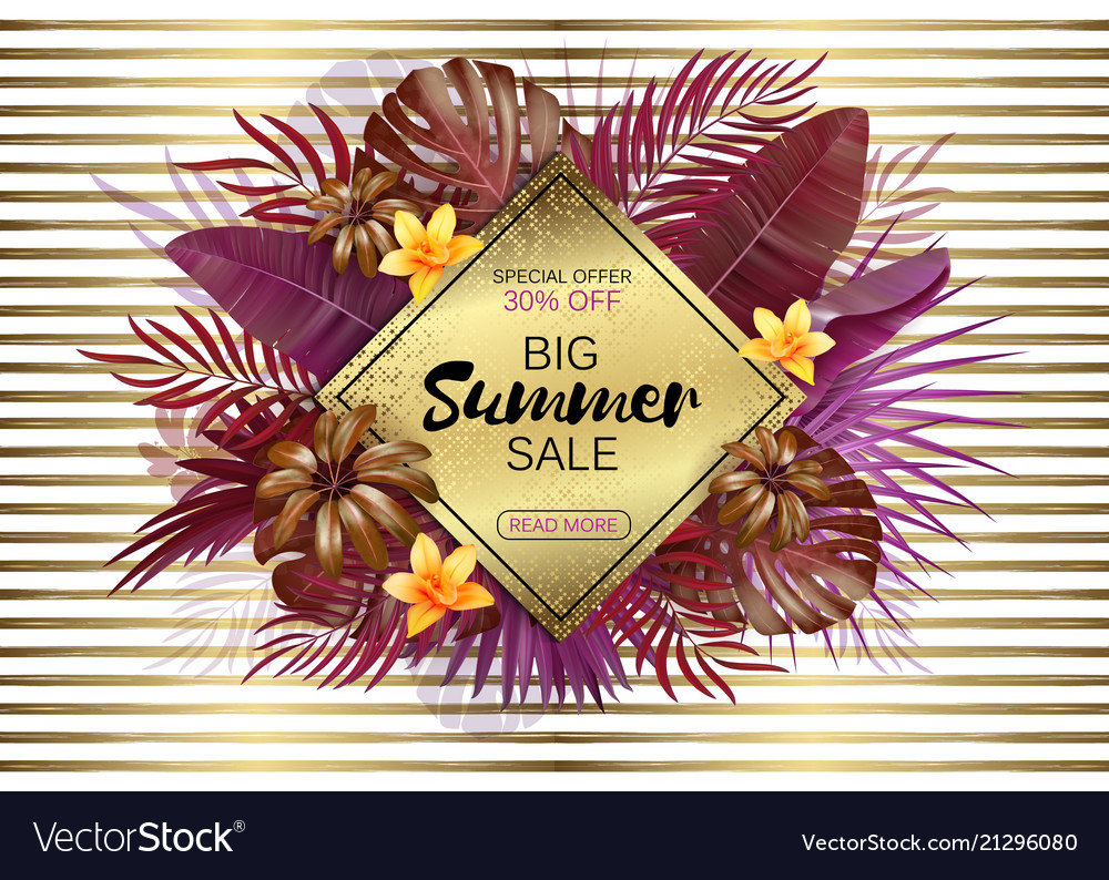 Summer sale background with exotic leaves and