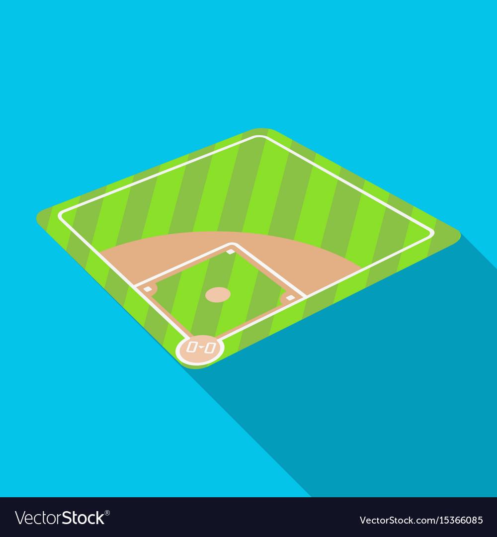 Baseball court baseball single icon in flat style