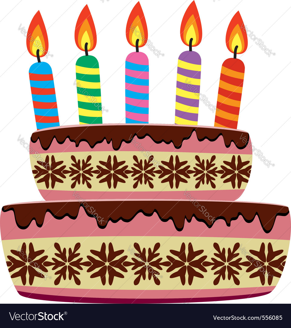 Birthday cake with burning candles Royalty Free Vector Image