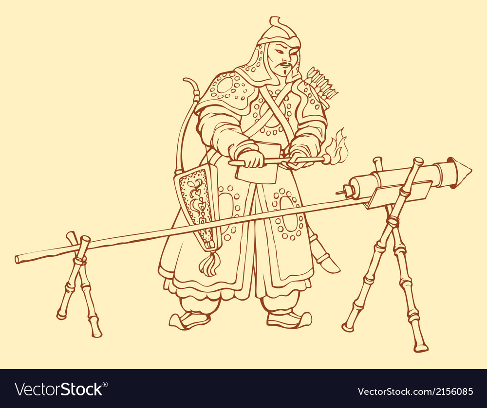Chinese warrior igniting Hand Cann