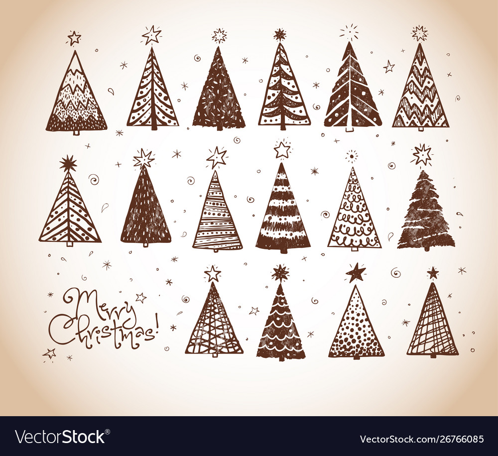Christmas doodles with set decorative christmas
