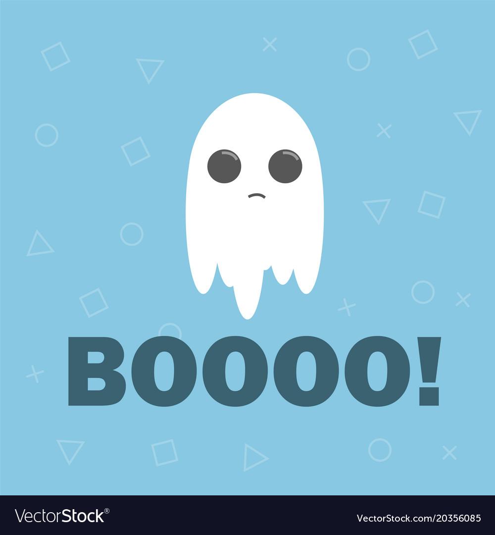 Cute ghost flat design halloween banner