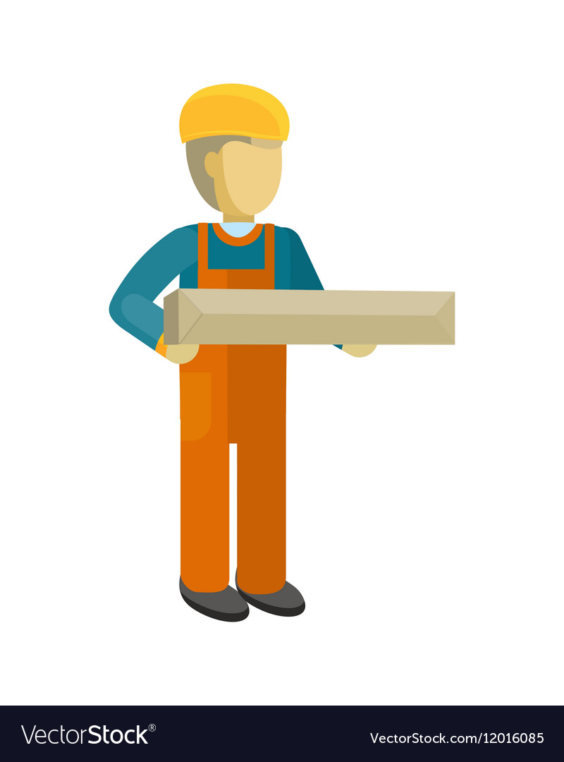 Delivery Man Worker Holds Package in his Hands vector image