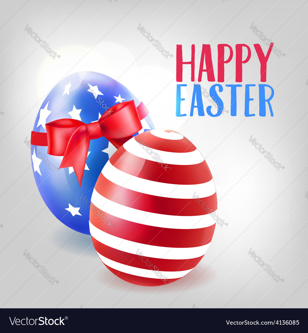 Easter background with decorated eggs and bow