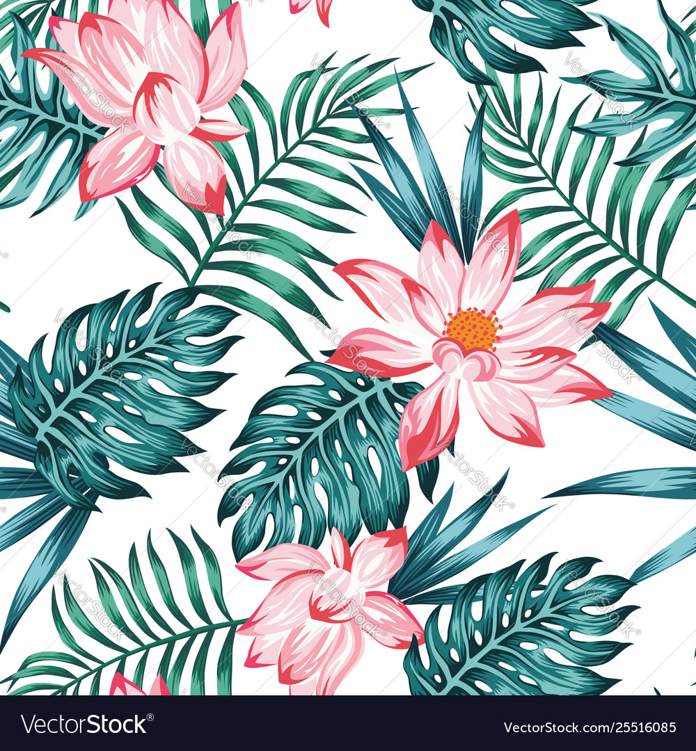 Floral seamless pattern blue leaves white