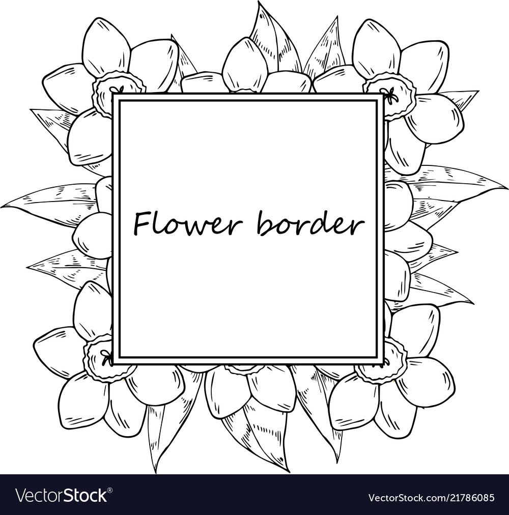 Flower Drawing Frame Royalty Free Vector Image