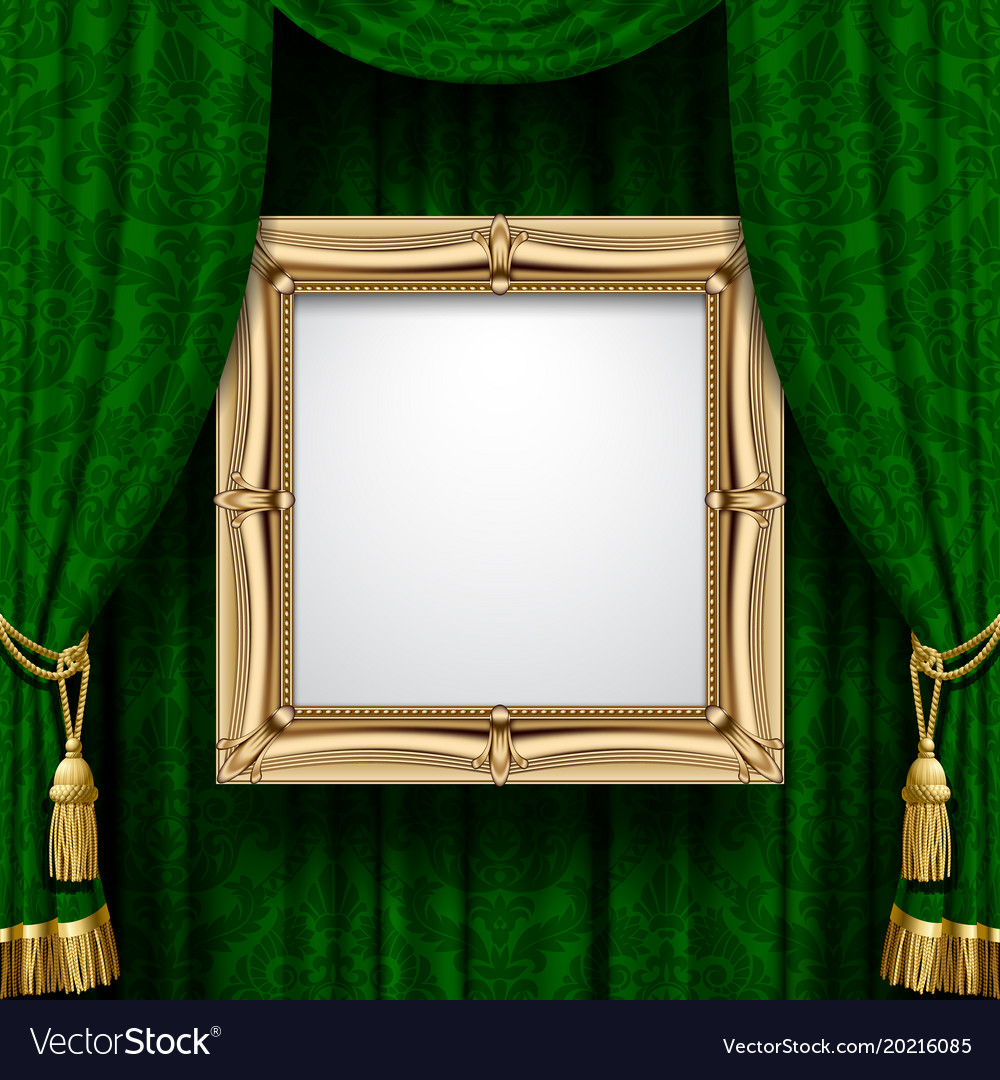 Green Curtain With A Gold Frame Royalty Free Vector Image
