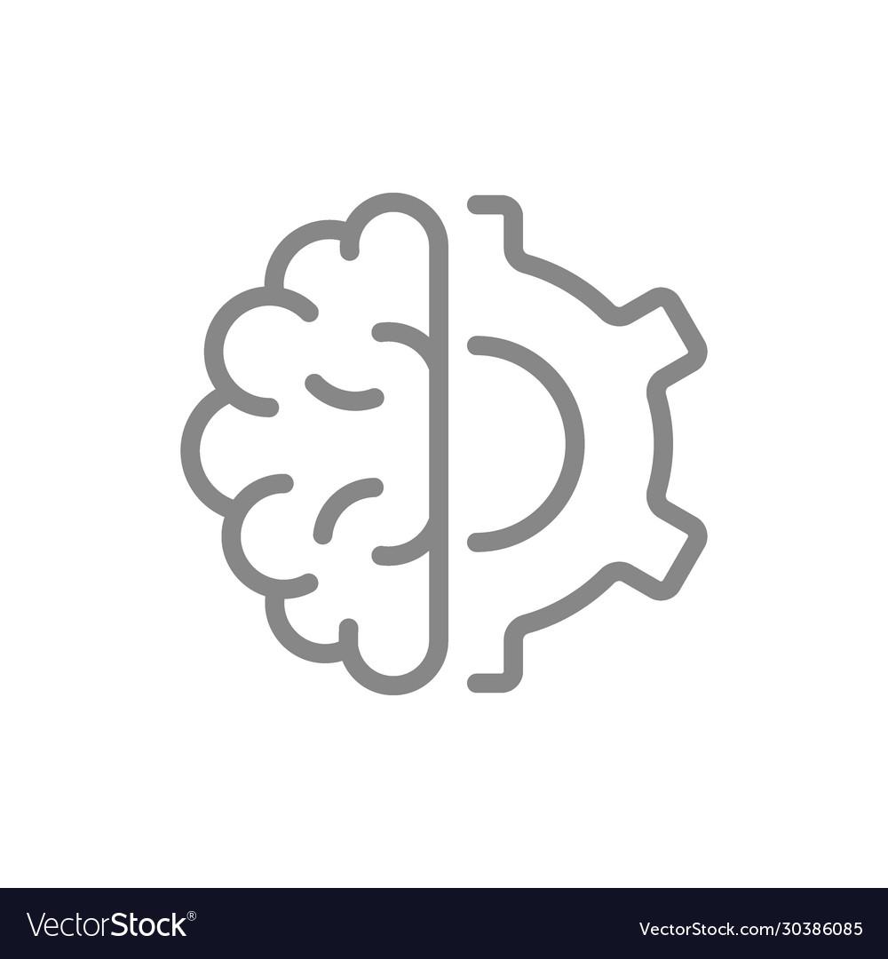 Human brain with gear wheel line icon engineering
