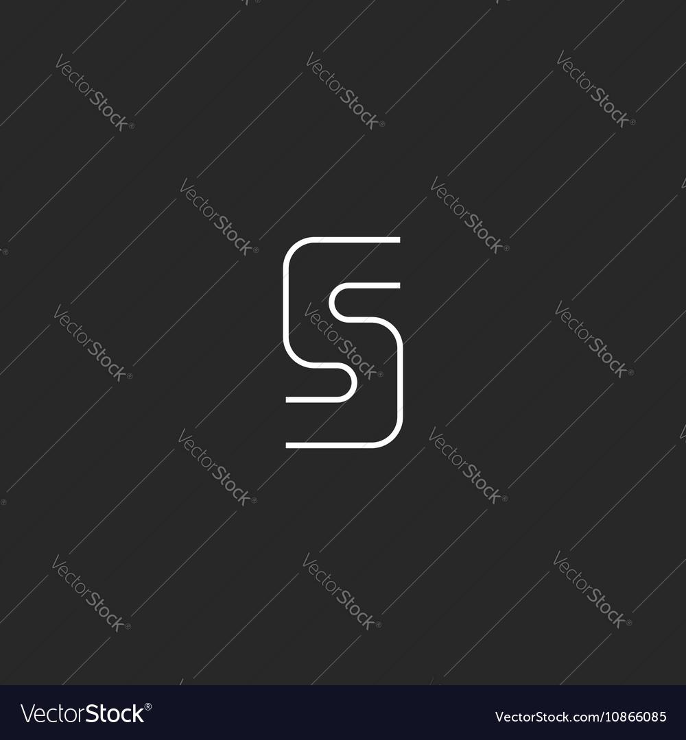 Letter S logo mockup curve geometric shape design vector image