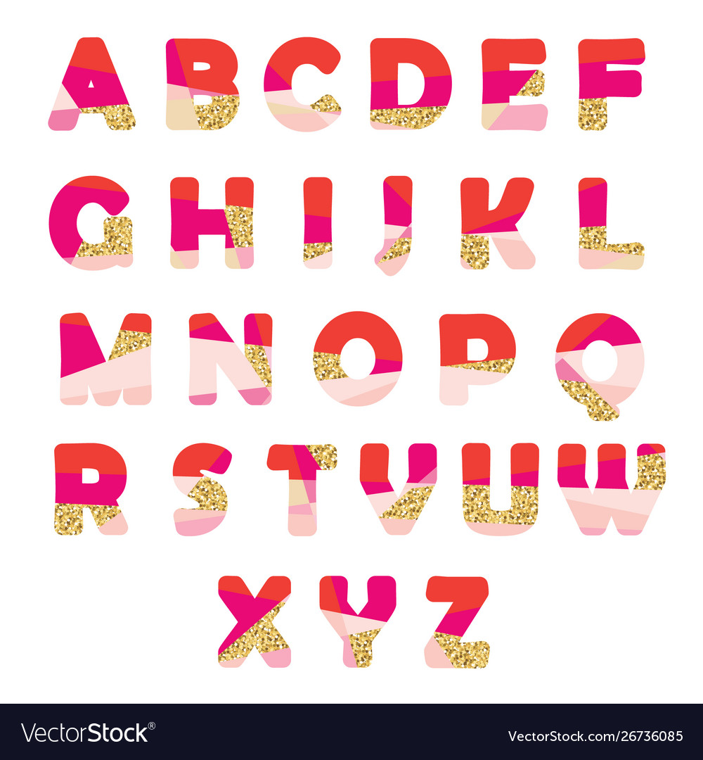 Modern abstract font with glitter creative abc