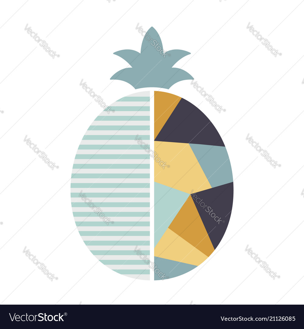 Pineapple in geometric modern style fruit vector