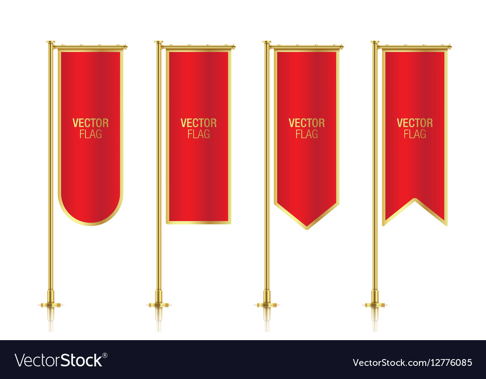 Red vertical banner flag templates
