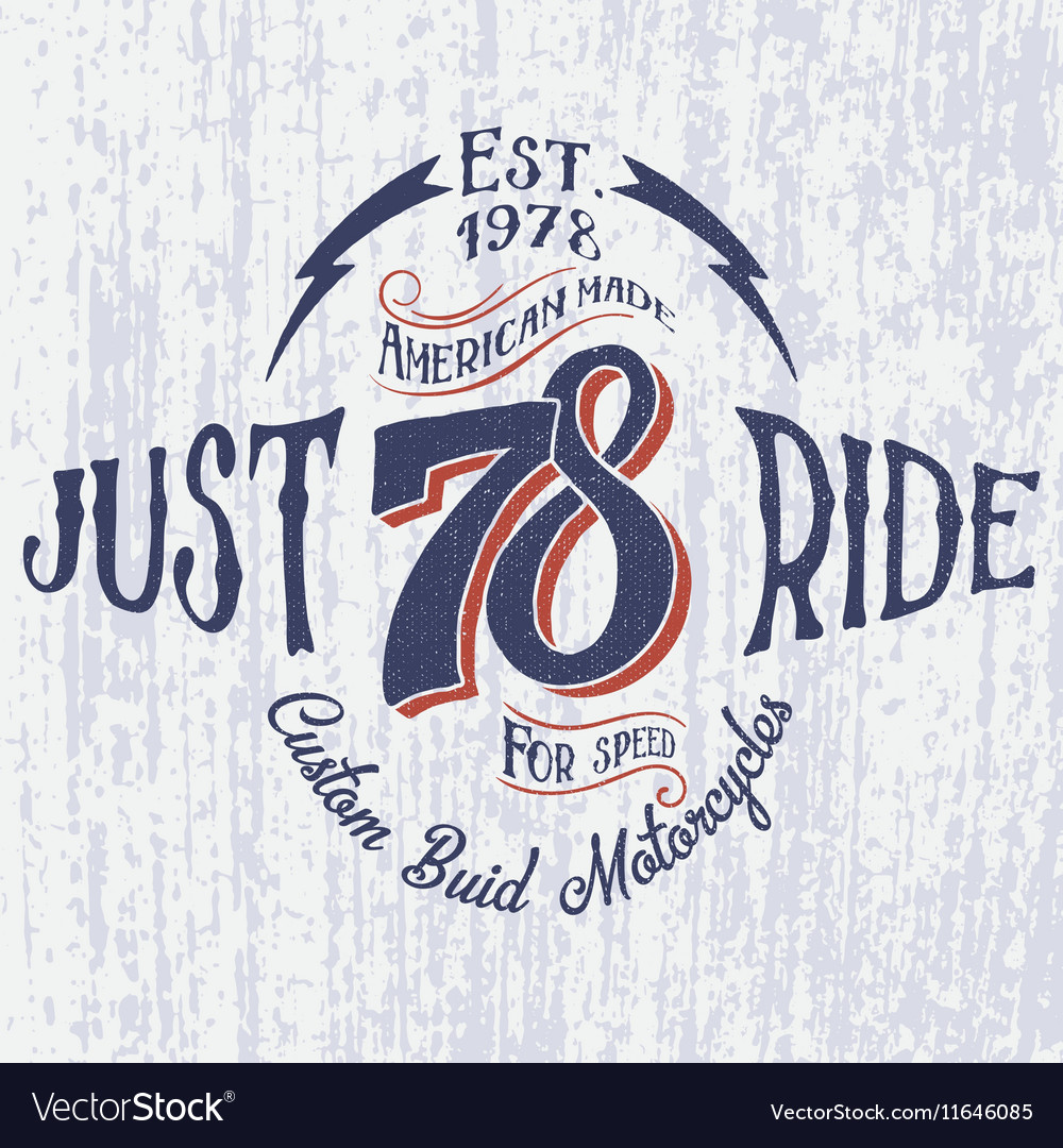 Retro motorcycle logo with inscription-just ride