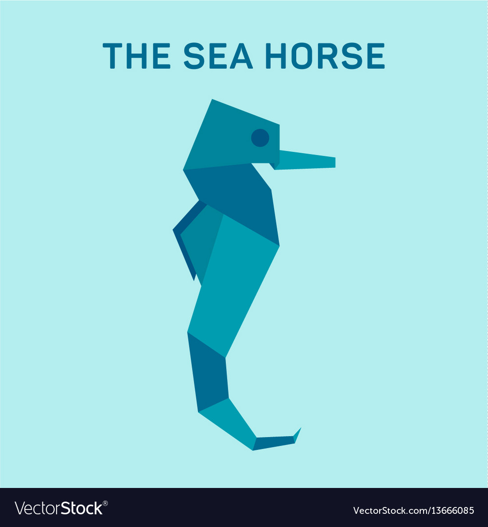 Seahorse origami flat trend vector image