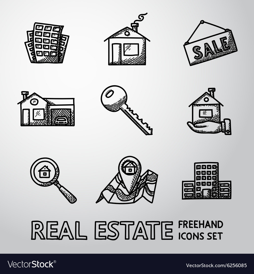 Set of freehand REAL ESTATE icons - landscape