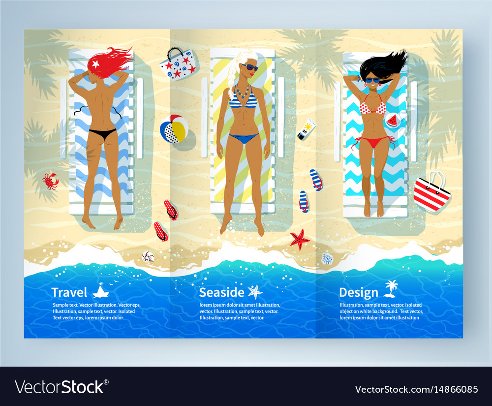 Three young women lying on the beach vector image