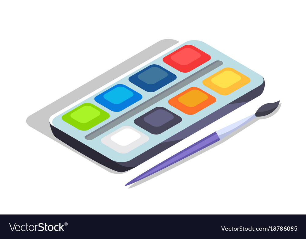 watercolor paints colorful palette box with brush vector image  vectorstock