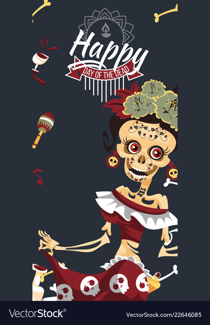 Woman skeleton at day dead party poster