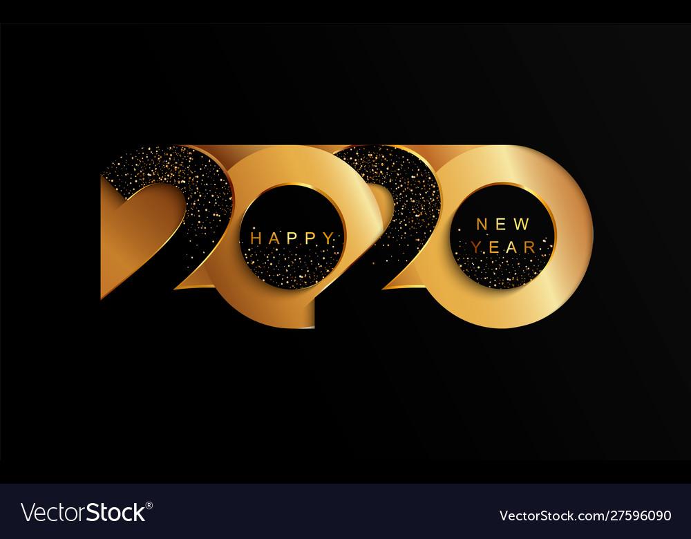 2020 new year golden paper cut banner