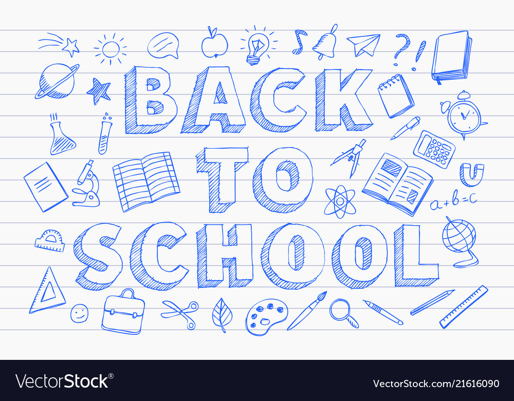 Back to school banner blue pen hand drawn doodles