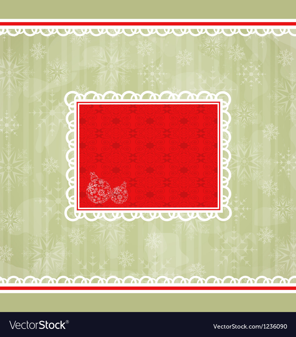 Christmas retro card ornamental design elements vector image