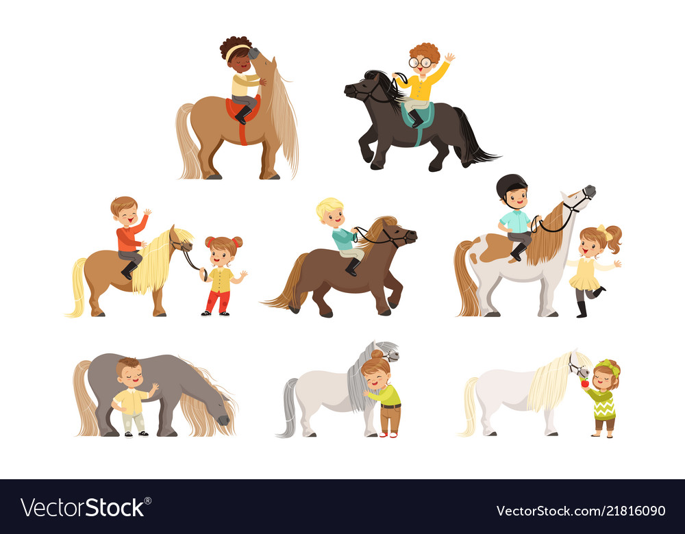 Cute little children riding ponies and taking care