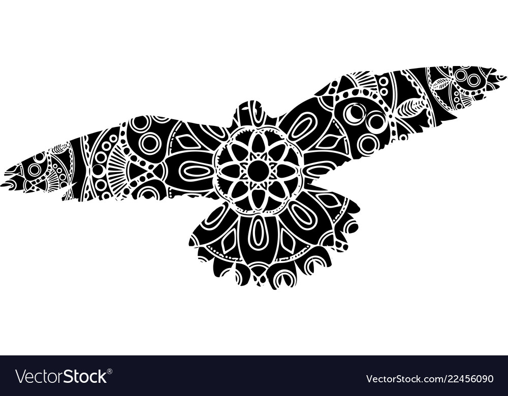 Outline of an ornate flying bird with