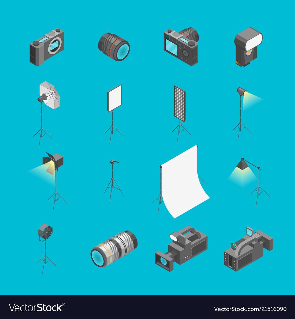 Photo studio equipment signs 3d icons set