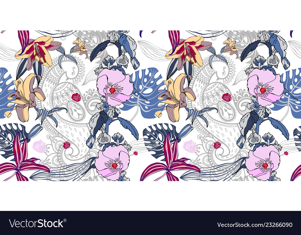 Seamless floral pattern with realistic flower and