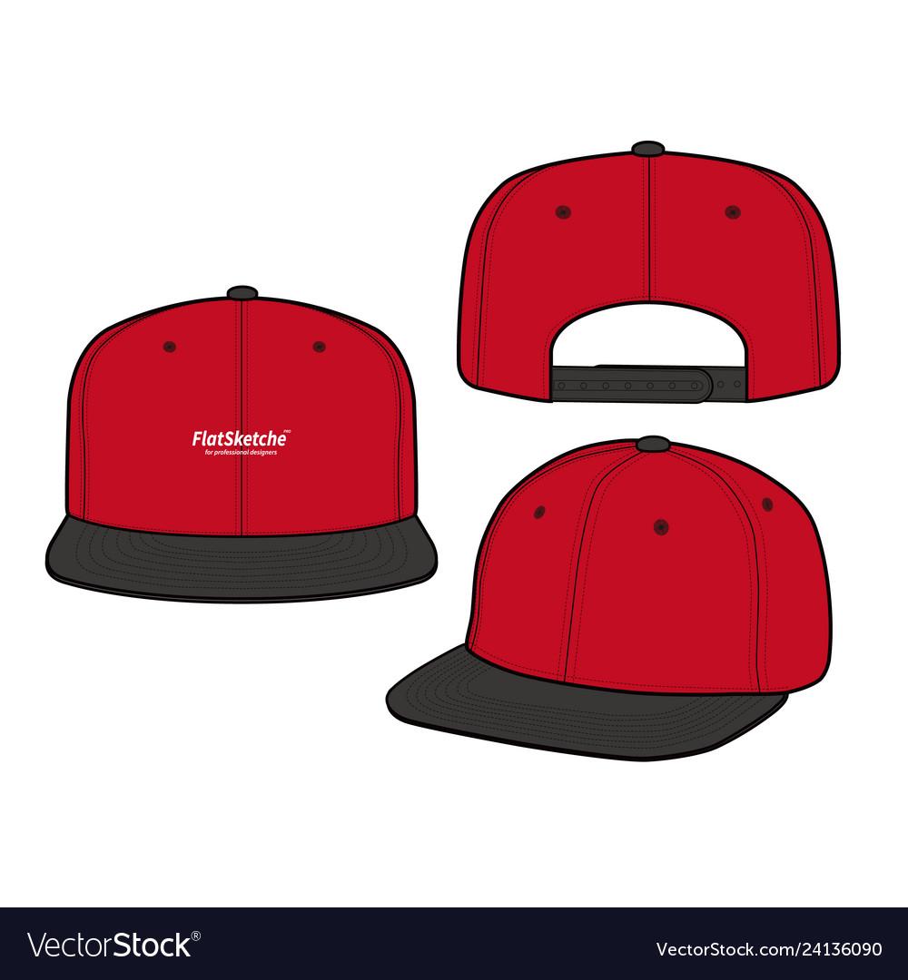 Snapback cap fashion flat mockup design
