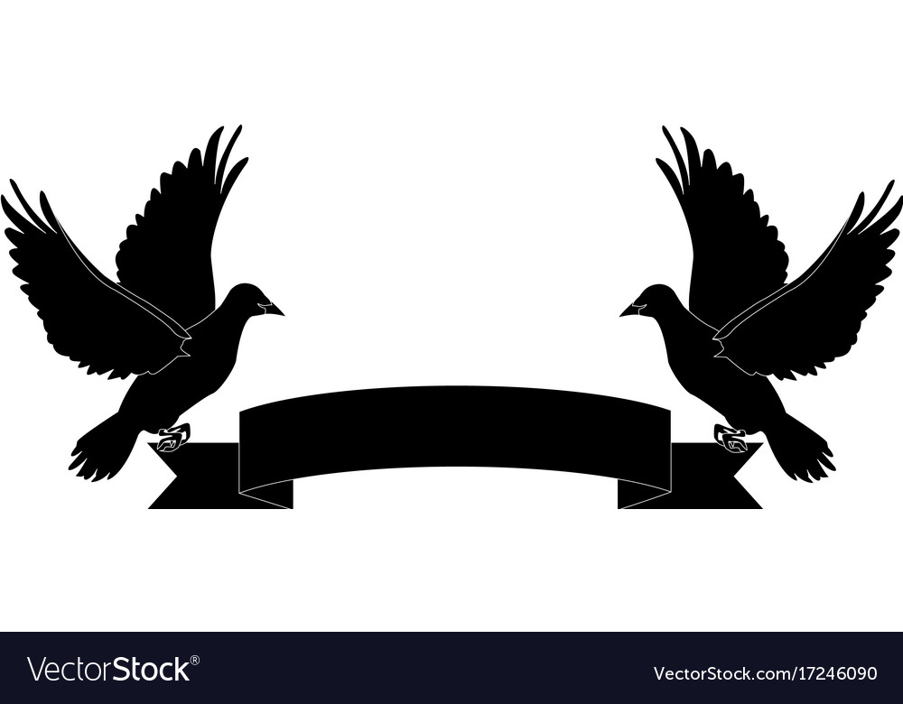 Ribbons Holding Doves Vector Images 26