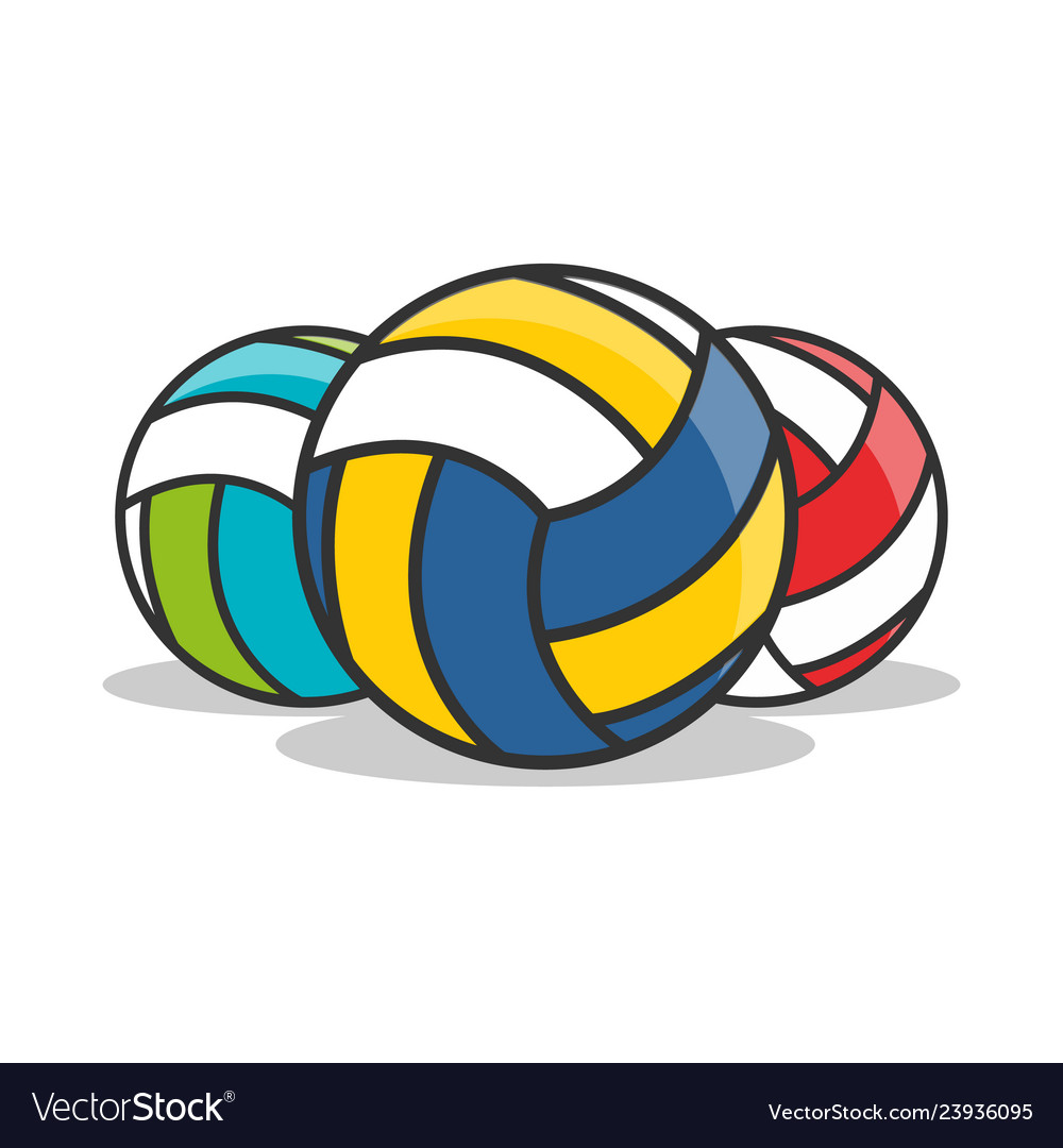 3 types of volleyball icon isolated